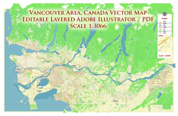 Vancouver Canada large area Map Vector Exact High Detailed City Plan editable Adobe Illustrator Street Map in layers
