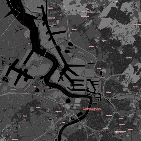 Antwerpen Belgium Map Vector City Plan Low Detailed (simple black) Street Map editable Adobe Illustrator in layers