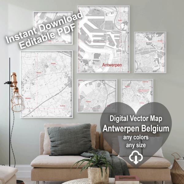 Antwerpen Belgium Map Vector City Plan Low Detailed (simple white) Street Map editable Adobe Illustrator in layers