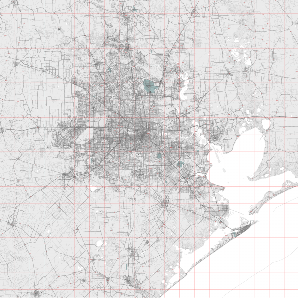 Houston Texas US Map Vector City Plan Low Detailed (simple white) Street Map editable Adobe Illustrator in layers