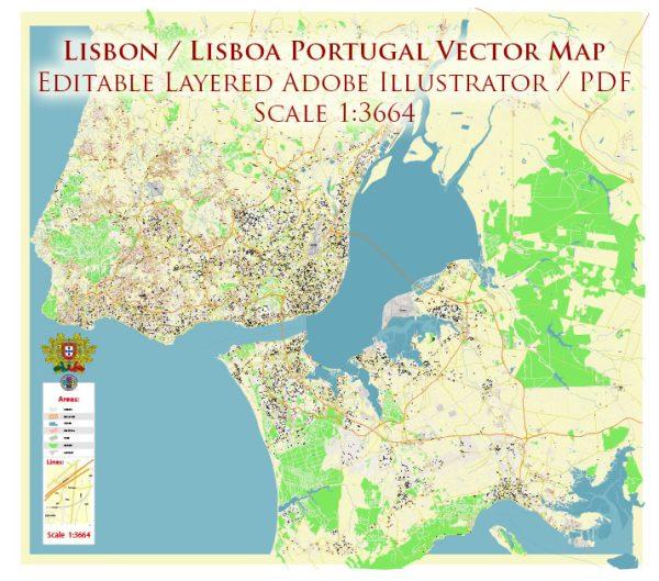 Lisbon (Lisboa) Portugal Map Vector Exact High Detailed City Plan editable Adobe Illustrator Street Map in layers