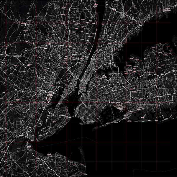 New York City US Map Vector City Plan Low Detailed (simple black) Street Map editable Adobe Illustrator in layers