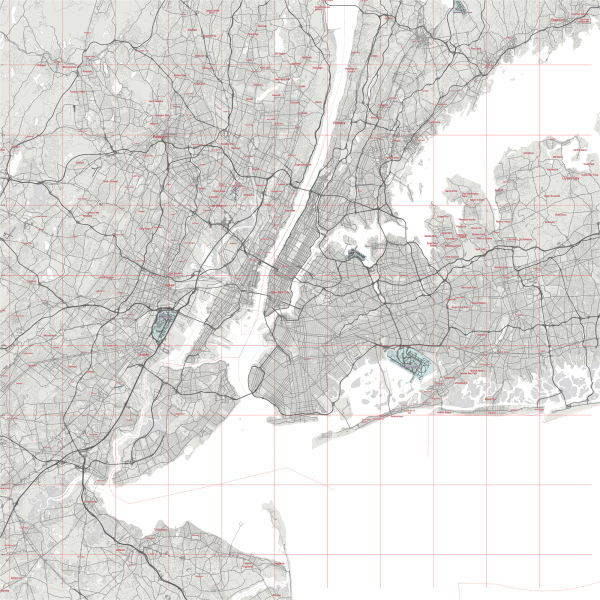 New York City US Map Vector City Plan Low Detailed (simple white) Street Map editable Adobe Illustrator in layers