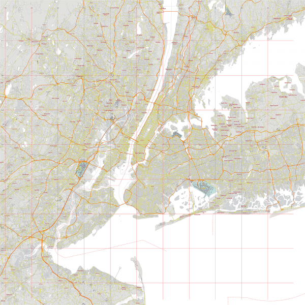 New York City US Map Vector City Plan Low Detailed (simple white + colors) Street Map editable Adobe Illustrator in layers