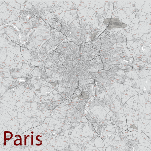 Paris France Map Vector City Plan Low Detailed (simple white) Street Map editable Adobe Illustrator in layers