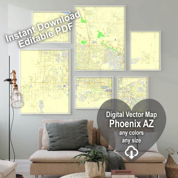 Phoenix Arizona US editable layered PDF Vector Map Version 22
