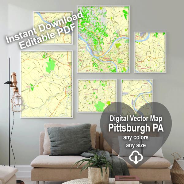 Pittsburgh Pennsylvania US editable layered PDF Vector Map Version 33