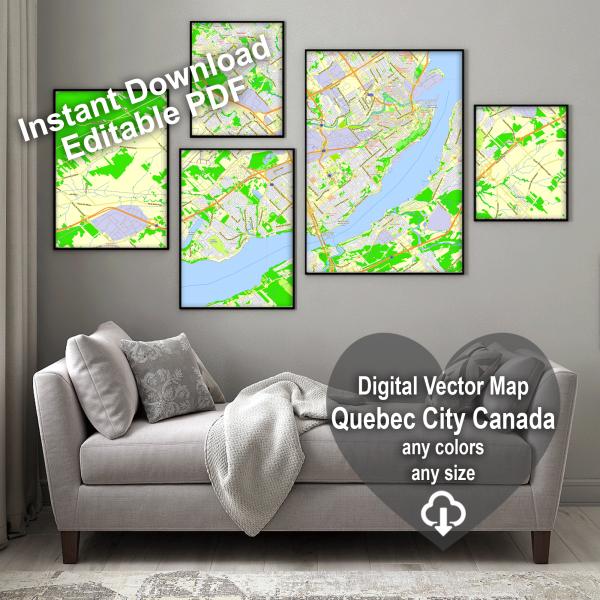 Quebec City Canada editable layered PDF Vector Map