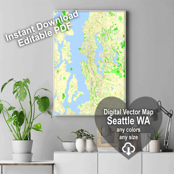 Seattle Washington US editable layered PDF Vector Map