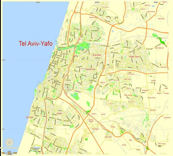 Tel Aviv Yafo Israel editable layered PDF Vector Map
