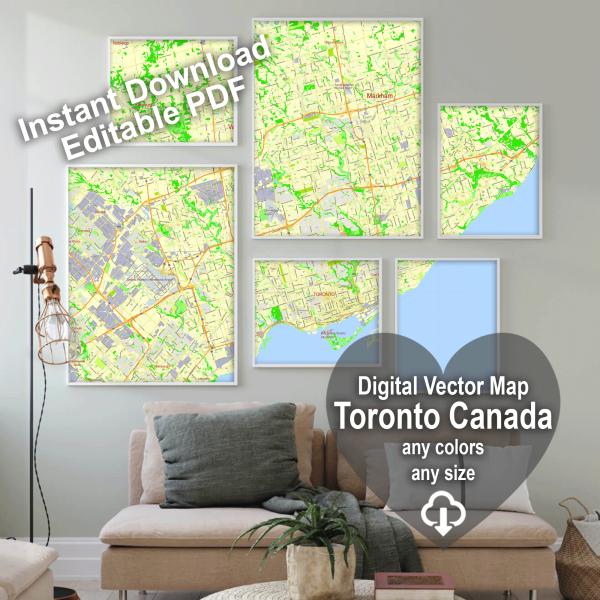 Toronto Canada editable layered PDF Vector Map