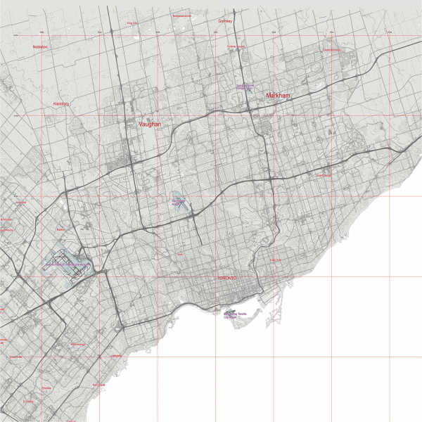 Toronto Canada Map Vector City Plan Low Detailed (simple BLANK version) Street Map editable Adobe Illustrator in layers