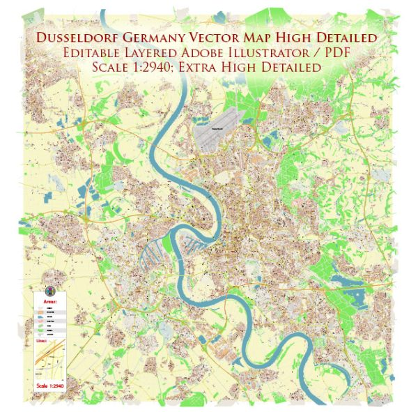 Dusseldorf Germany Map Vector Exact High Detailed City Plan editable Adobe Illustrator Street Map in layers