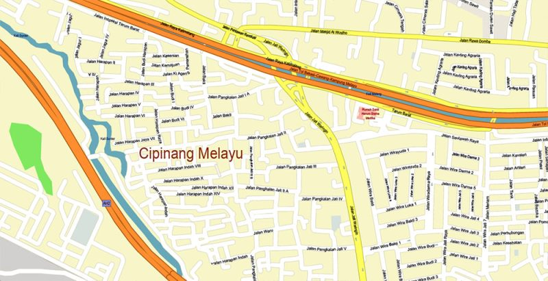 Jakarta Indonesia Map Vector Exact High Detailed City Plan editable Adobe Illustrator Street Map in layers