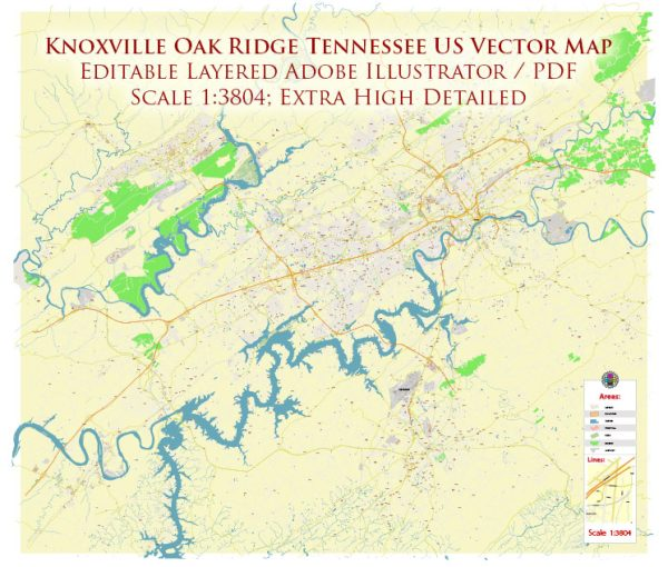 Knoxville + Oak Ridge Tennessee US Map Vector Exact High Detailed City Plan editable Adobe Illustrator Street Map in layers