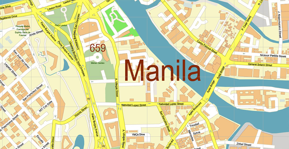Manila Philippines Map Vector Exact High Detailed City Plan editable Adobe Illustrator Street Map in layers