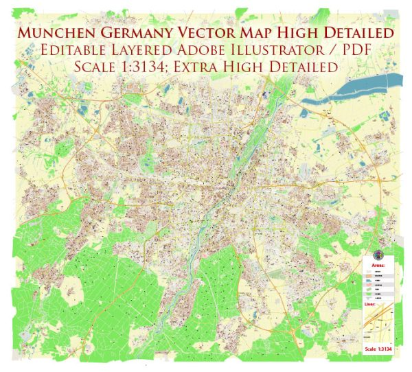 Munchen Germany Map Vector Exact High Detailed City Plan editable Adobe Illustrator Street Map in layers