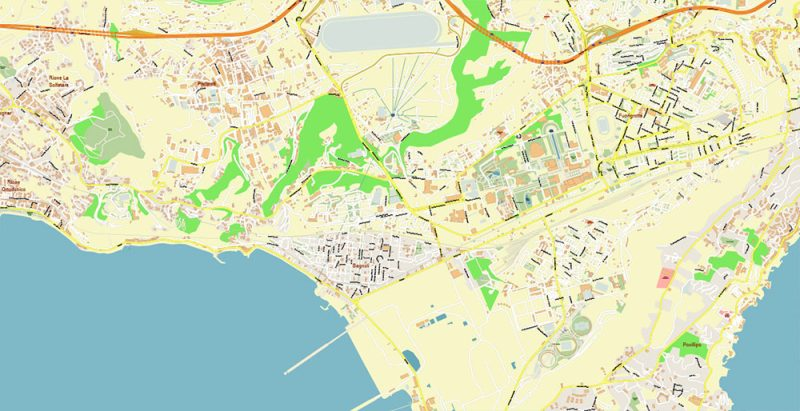 Naples Napoli Italy Map Vector Exact High Detailed City Plan editable Adobe Illustrator Street Map in layers