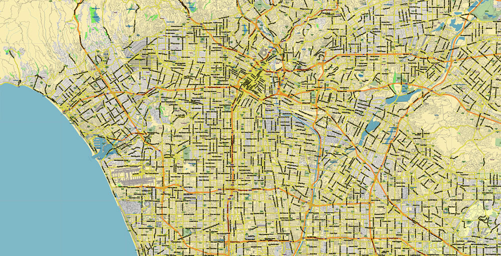 Southern California US Map Vector Exact High Detailed Region Plan editable Adobe Illustrator Street Road Map in layers (Names Main Streets)