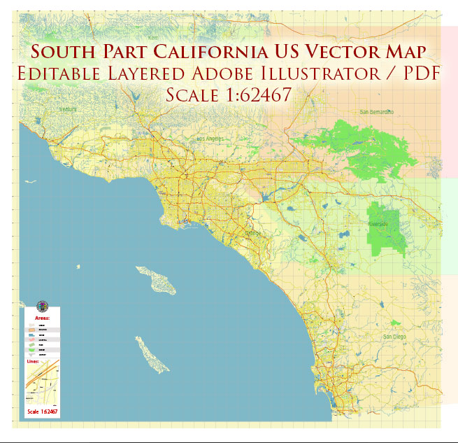 Southern California US Map Vector Exact Detailed Region Plan editable Adobe Illustrator Street Road Map in layers
