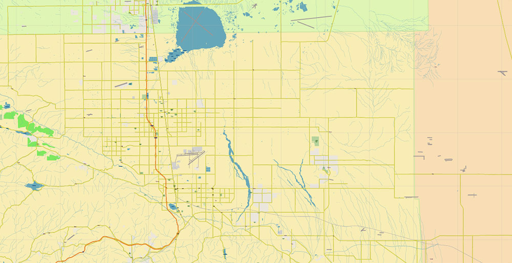 Southern California US PDF Vector Map: Exact Detailed Region Plan editable Adobe PDF Street Road Map in layers
