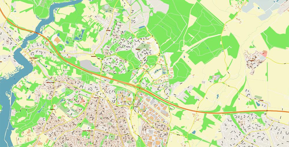 Southampton + Portsmouth UK PDF Vector Map: Exact High Detailed City Plan editable Adobe PDF Street Map in layers