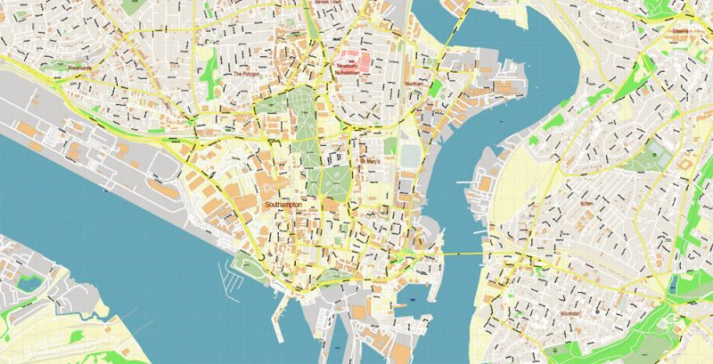 Southampton + Portsmouth UK Map Vector Exact High Detailed City Plan editable Adobe Illustrator Street Map in layers