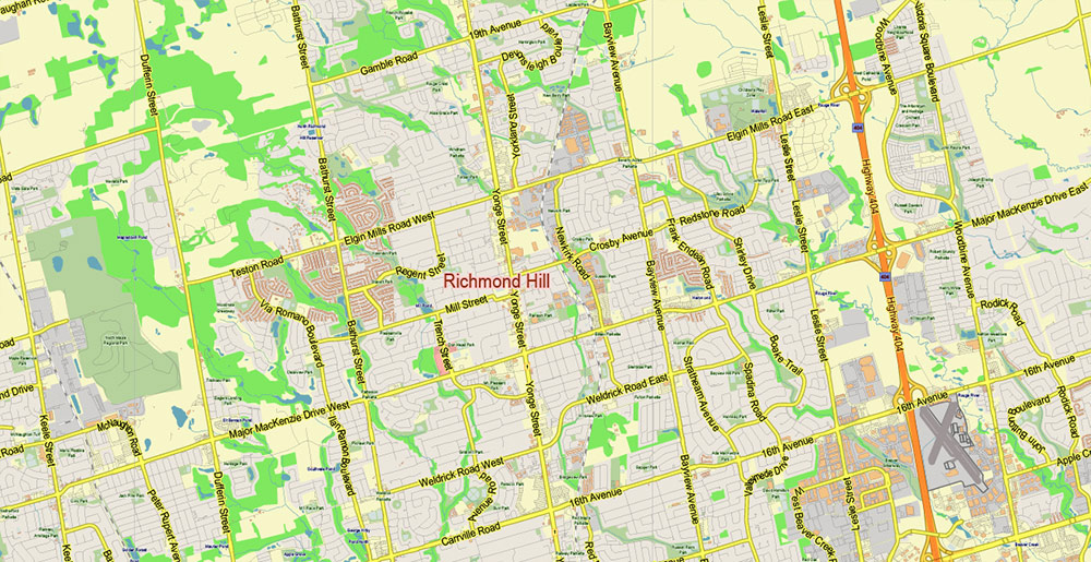 Toronto Canada PDF Vector Map: City Plan Low Detailed (for small print size) Street Map editable Adobe PDF in layers