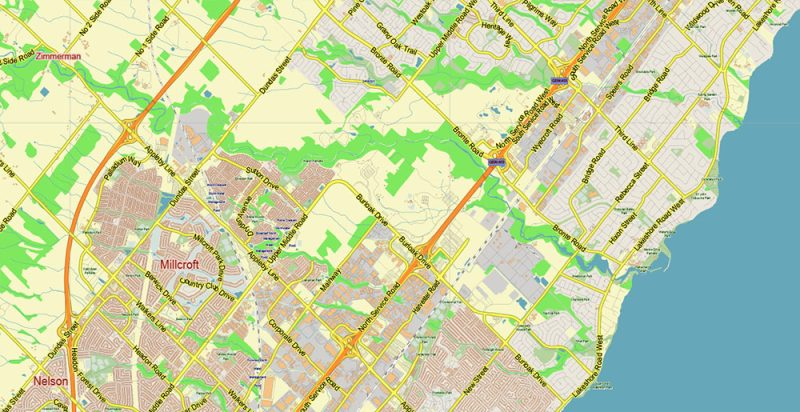 Toronto Canada Map Vector City Plan Low Detailed (for small print size) Street Map editable Adobe Illustrator in layers