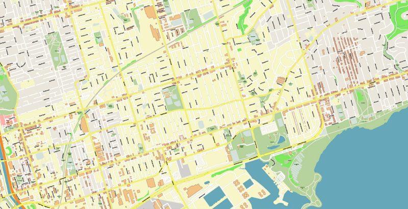 Toronto Canada Map Vector Exact High Detailed City Plan editable Adobe Illustrator Street Map in layers