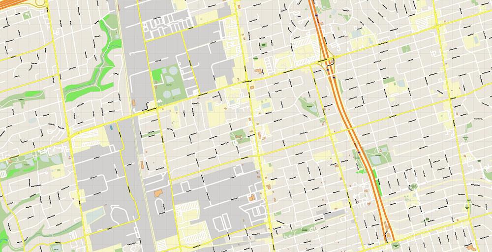 Toronto Canada PDF Vector Map: Exact High Detailed City Plan editable Adobe PDF Street Map in layers